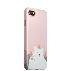 """Набор iBacks Lady's 2-piece Suit - Приветствие Медведя зеркало&гребень&накладка для iphone 8/ 7 (4.7"""") - (ip70004) Розовый"""