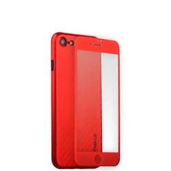 Чехол-накладка карбоновая Coblue 4D Glass & Carbon Case (2в1) для iPhone SE (2020г.)/ 8/ 7 (4.7) Красный