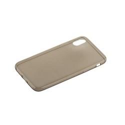 """Чехол силиконовый для iPhone XS/ X (5.8"""") супертонкий в техпаке (прозрачно-чёрный)"""
