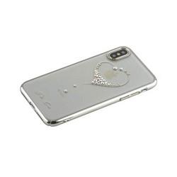 """Чехол-накладка KINGXBAR для iPhone XS/ X (5.8"""") пластик со стразами Swarovski 49F серебристый (The One)"""