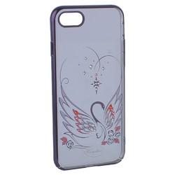 """Чехол-накладка KINGXBAR для iPhone 8/ 7 (4.7"""") пластик со стразами Swarovski 49F Лебединая Любовь черный"""