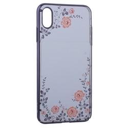 """Чехол-накладка KINGXBAR для iPhone XS Max (6.5"""") пластик со стразами Swarovski 49F (розовые цветы) черный"""