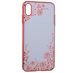 """Чехол-накладка KINGXBAR для iPhone XS Max (6.5"""") пластик со стразами Swarovski 49F (розовые цветы) красный"""