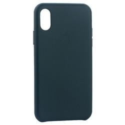 """Чехол-накладка кожаная Leather Case для iPhone XS/ X (5.8"""") Forest Green Темно-зеленый"""