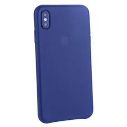 "Чехол-накладка кожаная Leather Case для iPhone XS Max (6.5"") Midnight Blue Темно-синий"