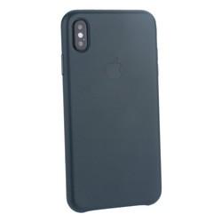 """Чехол-накладка кожаная Leather Case для iPhone XS Max (6.5"""") Forest Green Темно-зеленый"""