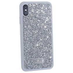 """Чехол-накладка силиконовая со стразами SWAROVSKI Crystalline для iPhone XS Max (6.5"""") Светло-серый"""
