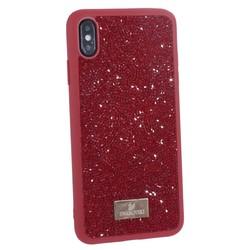 """Чехол-накладка силиконовая со стразами SWAROVSKI Crystalline для iPhone XS Max (6.5"""") Красный"""