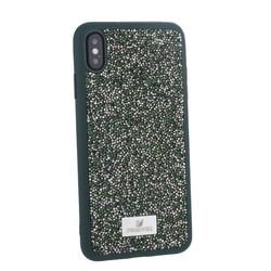 """Чехол-накладка силиконовая со стразами SWAROVSKI Crystalline для iPhone XS Max (6.5"""") Темно-зеленый"""