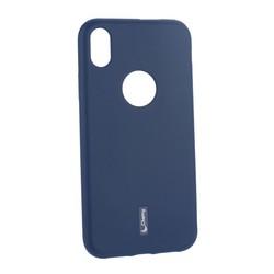 """Чехол-накладка силиконовый Cherry матовый 0.4mm & пленка для iPhone XR (6.1"""") Синий"""