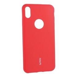 """Чехол-накладка силиконовый Cherry матовый 0.4mm & пленка для iPhone XS Max (6.5"""") Красный"""