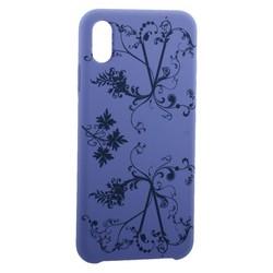 """Чехол-накладка силиконовый Silicone Cover для iPhone XS Max (6.5"""") Узор Сиреневый"""