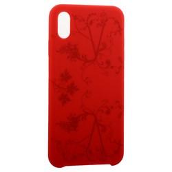 """Чехол-накладка силиконовый Silicone Cover для iPhone XS Max (6.5"""") Узор Красный"""