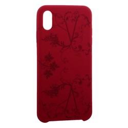 """Чехол-накладка силиконовый Silicone Cover для iPhone XS Max (6.5"""") Узор Бордово-фиолетовый"""