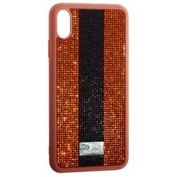 """Чехол-накладка силиконовая со стразами SWAROVSKI Crystalline для iPhone XS Max (6.5"""") Коричневый"""
