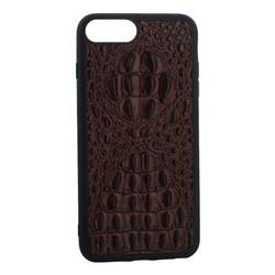 """Накладка кожаная Vorson под крокодила для iPhone 8 Plus/ 7 Plus (5.5"""") силиконовый борт Коричневая"""