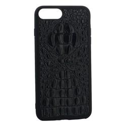 """Накладка кожаная Vorson под крокодила для iPhone 8 Plus/ 7 Plus (5.5"""") силиконовый борт Черная"""
