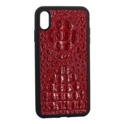 """Накладка кожаная Vorson под крокодила для iPhone XS Max (6.5"""") силиконовый борт Красная"""