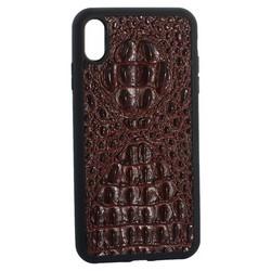 """Накладка кожаная Vorson под крокодила для iPhone XS Max (6.5"""") силиконовый борт Коричневая"""