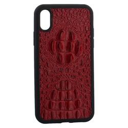 """Накладка кожаная Vorson под крокодила для iPhone XR (6.1"""") силиконовый борт Красная"""