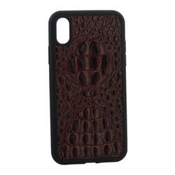 """Накладка кожаная Vorson под крокодила для iPhone XR (6.1"""") силиконовый борт Коричневая"""