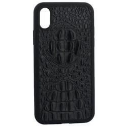 """Накладка кожаная Vorson под крокодила для iPhone XR (6.1"""") силиконовый борт Черная"""