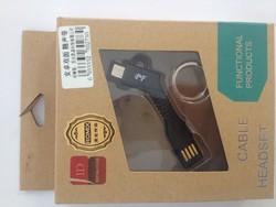 USB дата-кабель microUSB брелок черный
