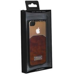 Чехол-накладка с яблоком для iPhone 4S/ 4 светло-коричневая