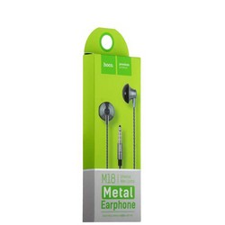 Наушники Hoco M18 Gesi Metallic Universal Earphone with mic (1.2 м) с микрофоном Graphite Графитовые