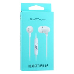 Стереогарнитура BoraSCO BSH-02 ID35815 Universal Earphones with mic (1.1 м) с микрофоном Белая